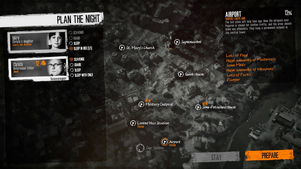 This War of Mine: night plan